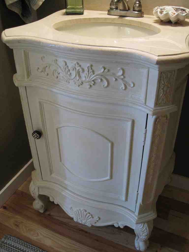 Powder room vanity cabinets home furniture design for How much to install a bathroom vanity and sink