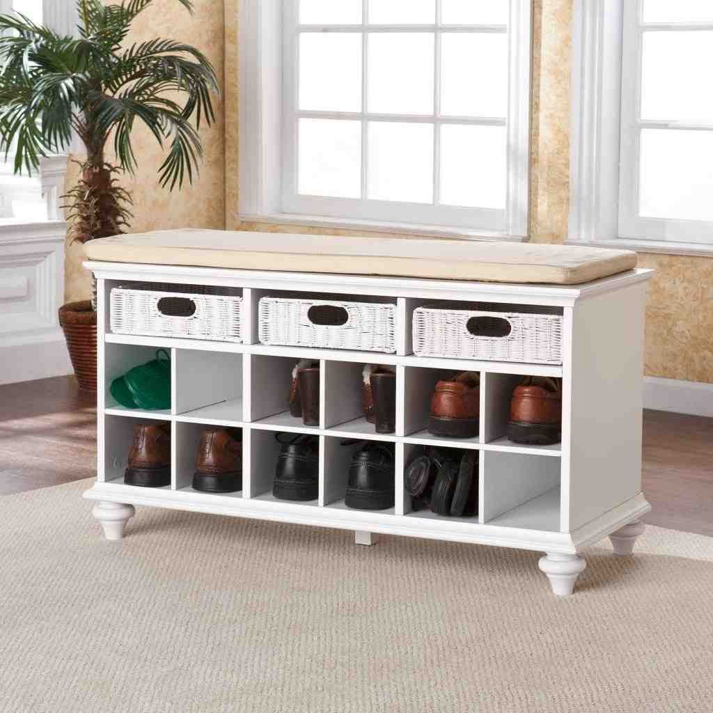White Entryway Storage Bench Home Furniture Design