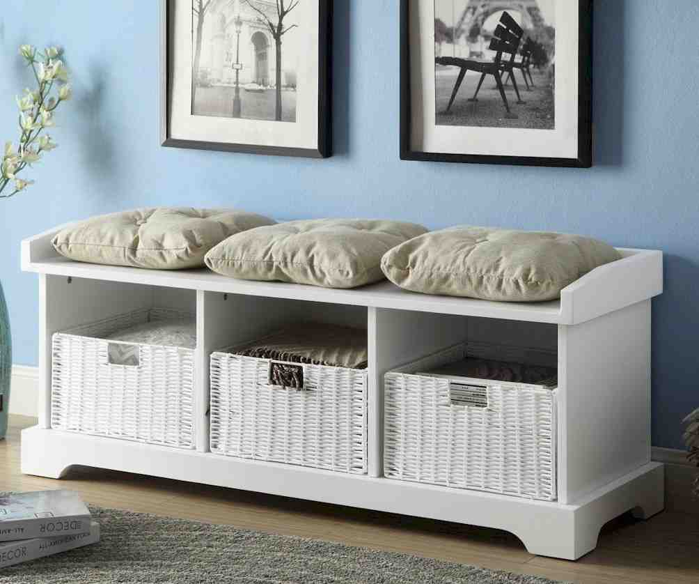 White Wood Storage Bench Home Furniture Design
