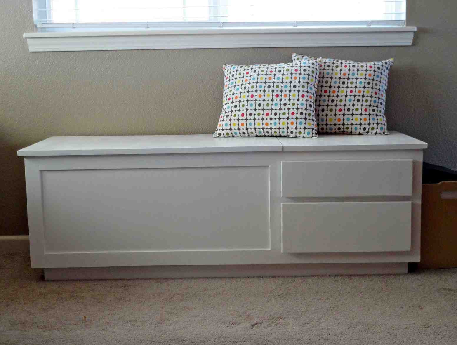 White Wooden Storage Bench Home Furniture Design