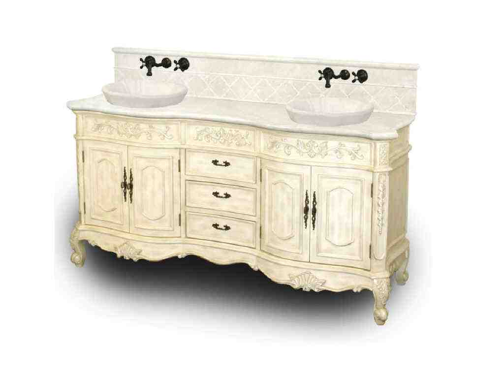 Antique white bathroom cabinet home furniture design for Antique white double sink bathroom vanities