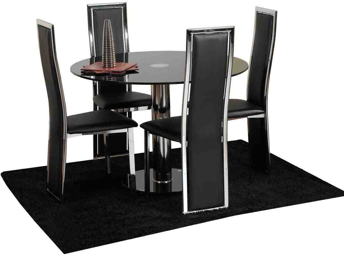 Black dining chairs set of 4 home furniture design for Fancy dining table and chairs