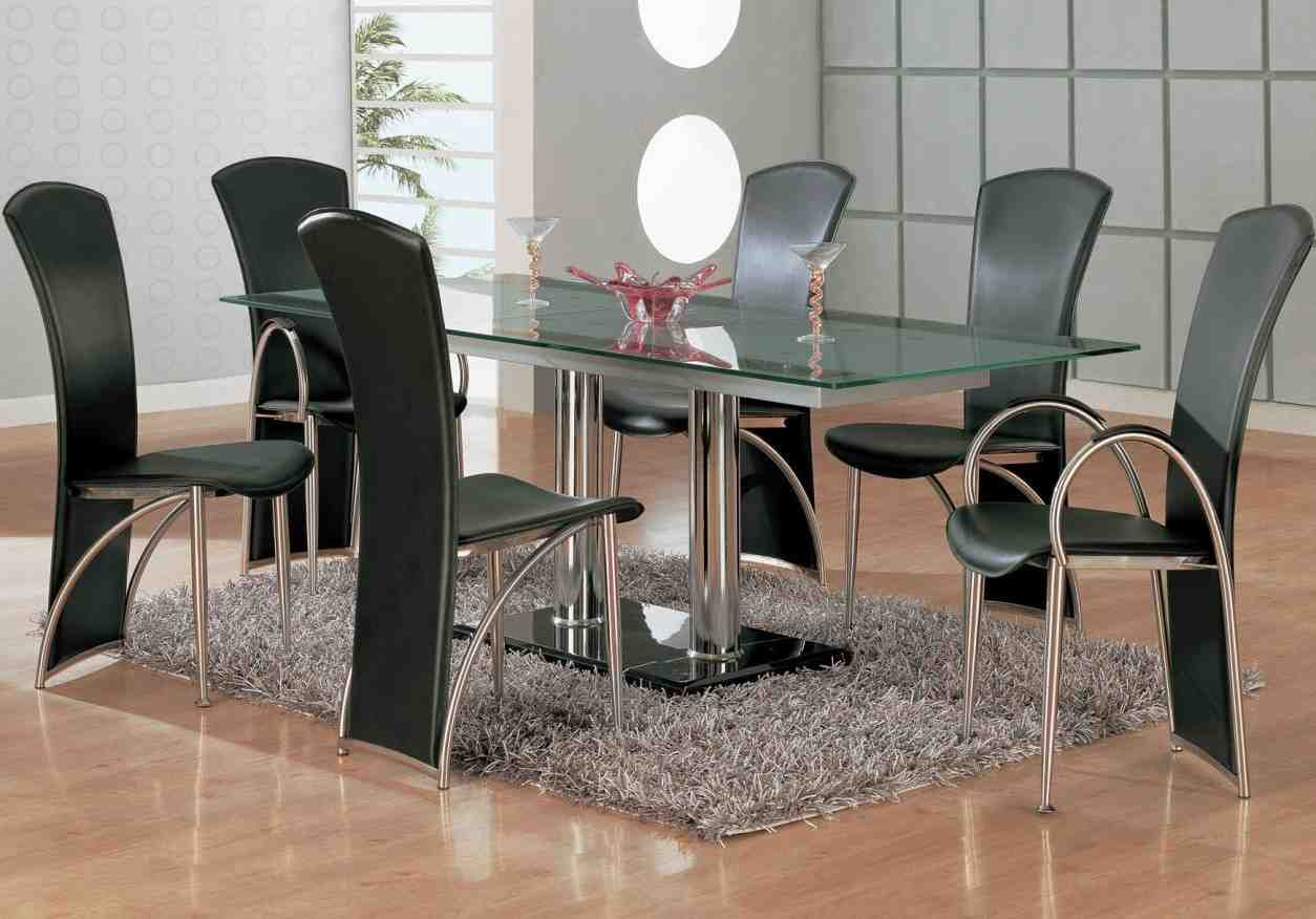 Black dining sets with 6 chairs home furniture design for Black dining set