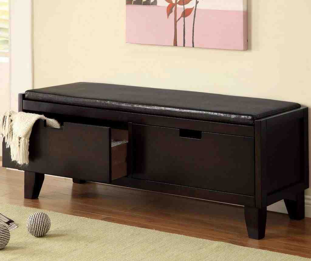 Black Storage Bench With Cushion Home Furniture Design