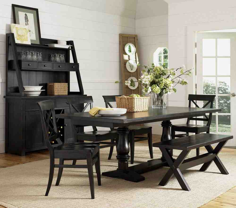 Black wooden dining chairs home furniture design - Black dining room tables ...