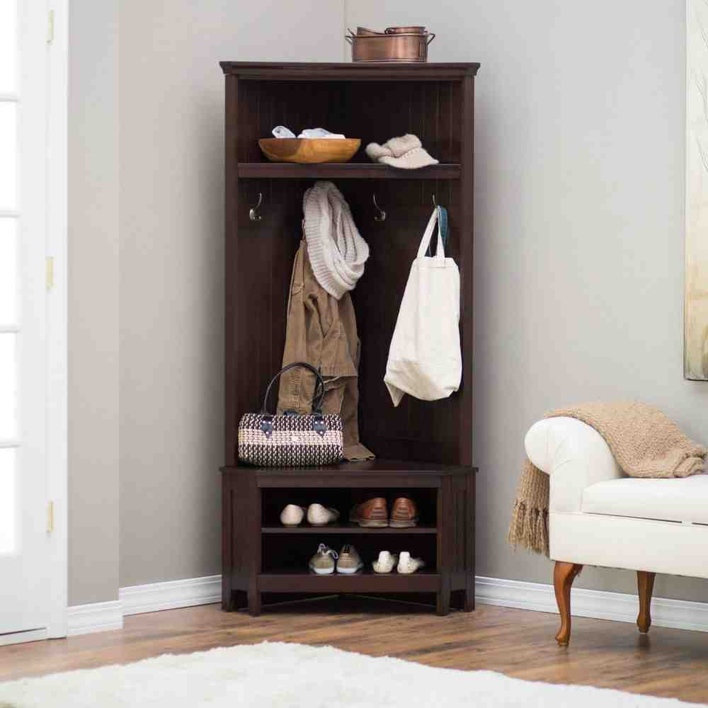Corner Hall Tree with Storage Bench - Home Furniture Design