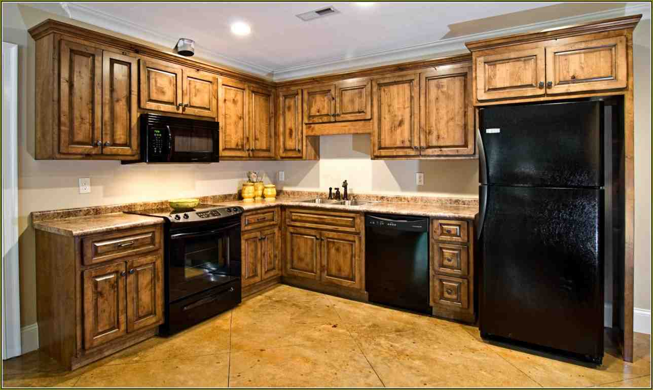 Knotty maple cabinets home furniture design for Dark wood kitchen units