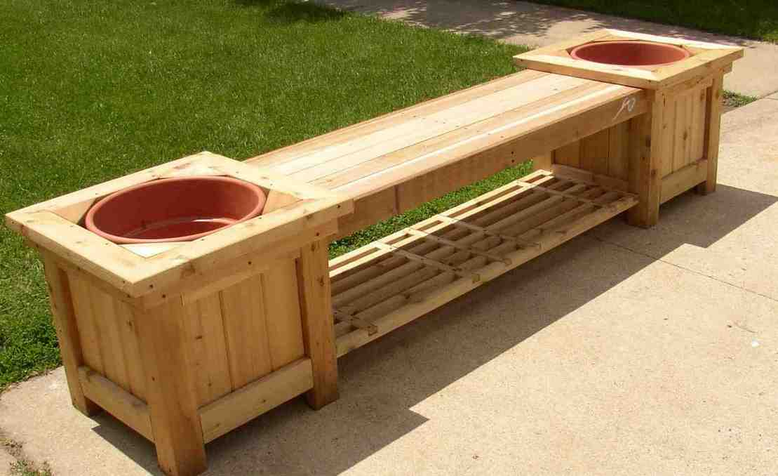 outdoor storage bench with planters - Home Furniture Design