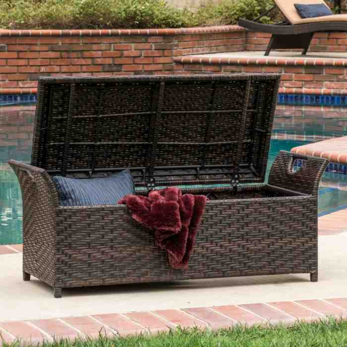 Outdoor Wicker Storage Bench Home Furniture Design