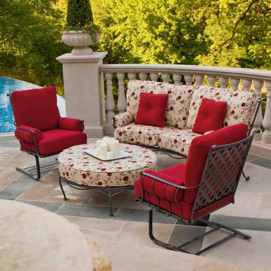 Red patio chair cushions home furniture design for Patio furniture for narrow balcony