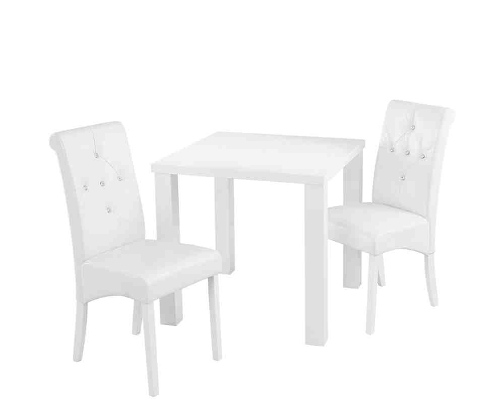 Small white dining table and chairs home furniture design for Small dinner table and chairs