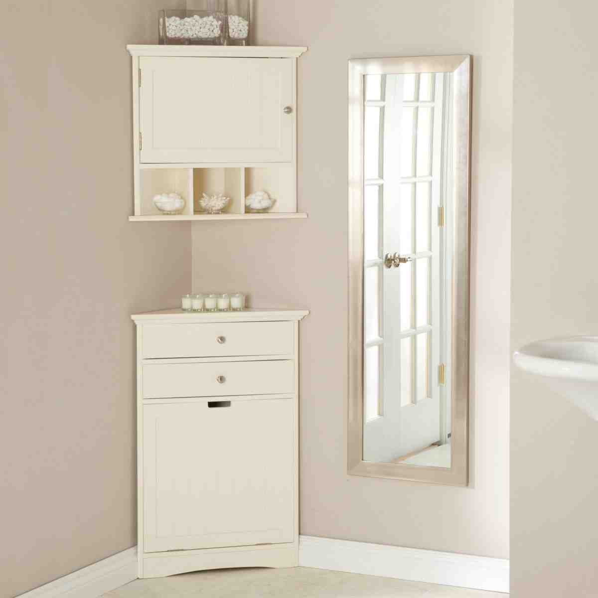 White bathroom corner cabinet home furniture design for Floor standing corner bathroom cabinet