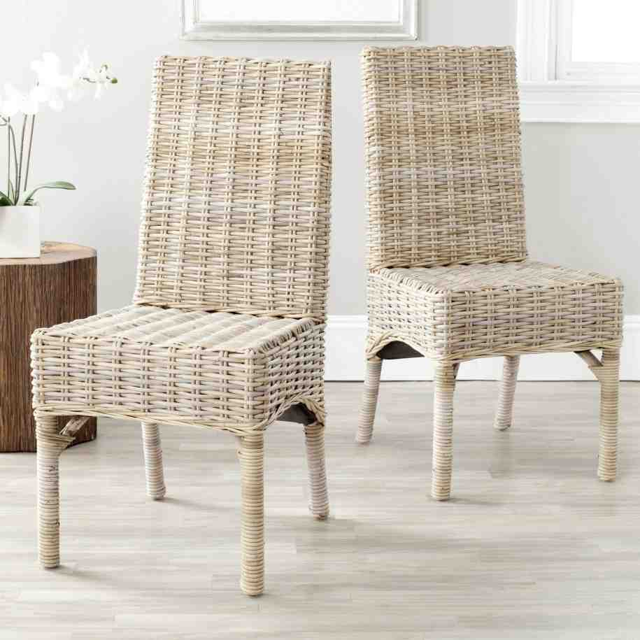 White wicker dining chairs home furniture design for Wicker dining room chairs