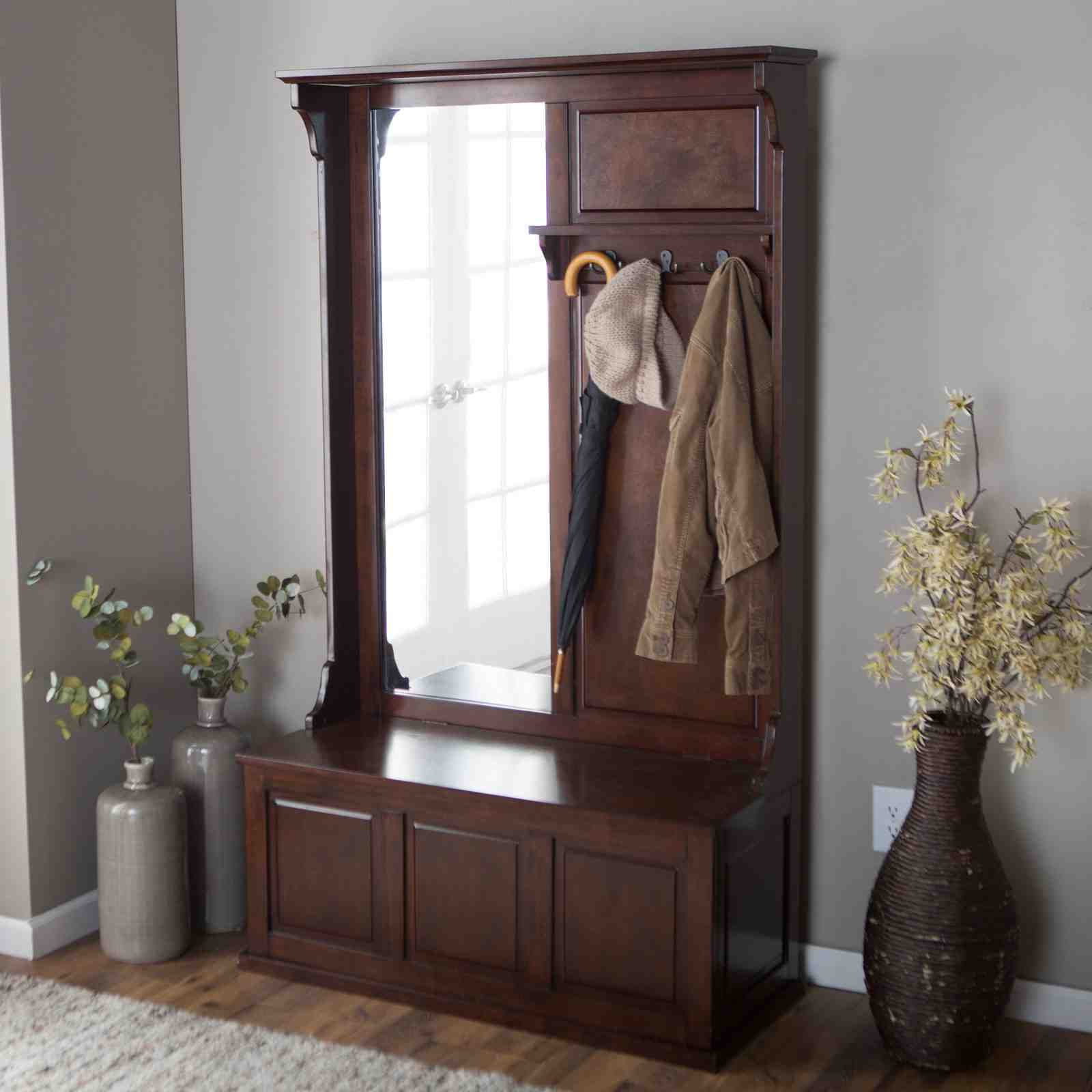 Hall tree storage bench how to purchase home furniture design - Furniture for front entryway ...