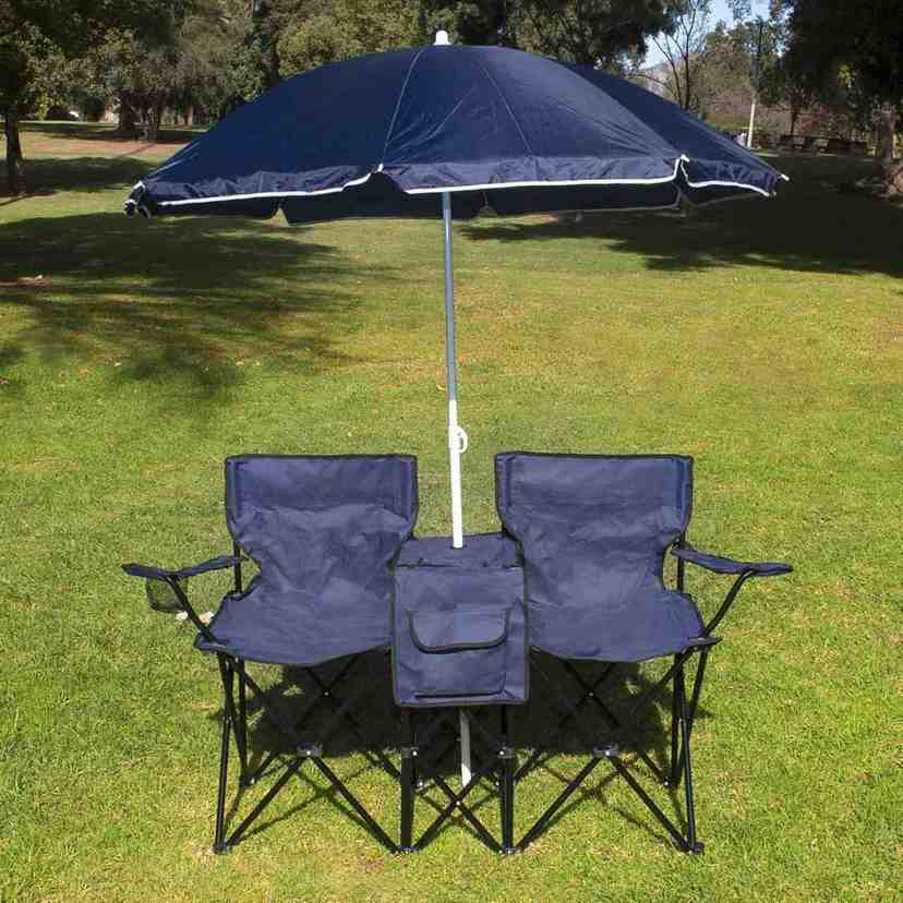 Double Folding Chair with Umbrella Home Furniture Design