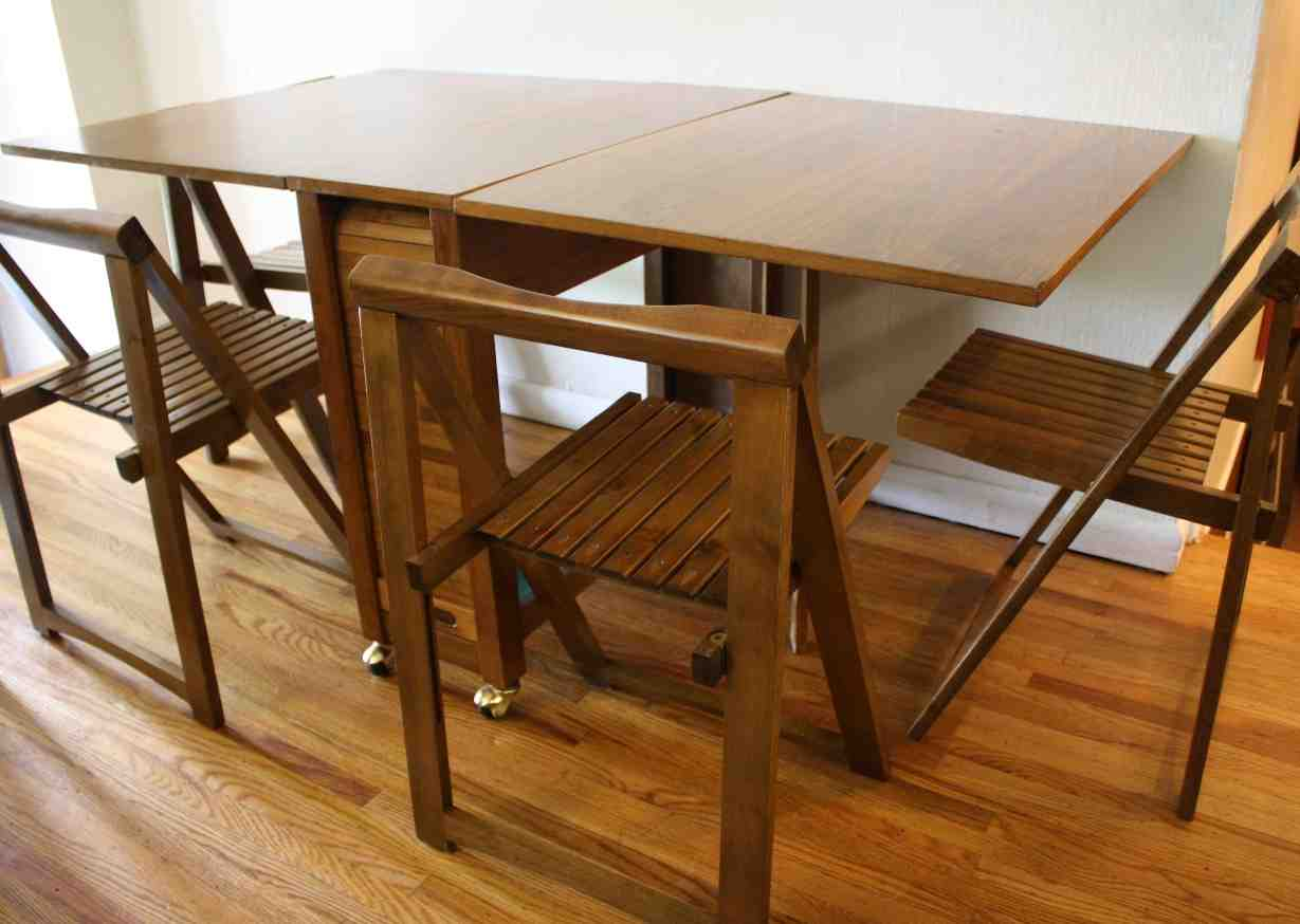 folding table with chair storage home furniture design