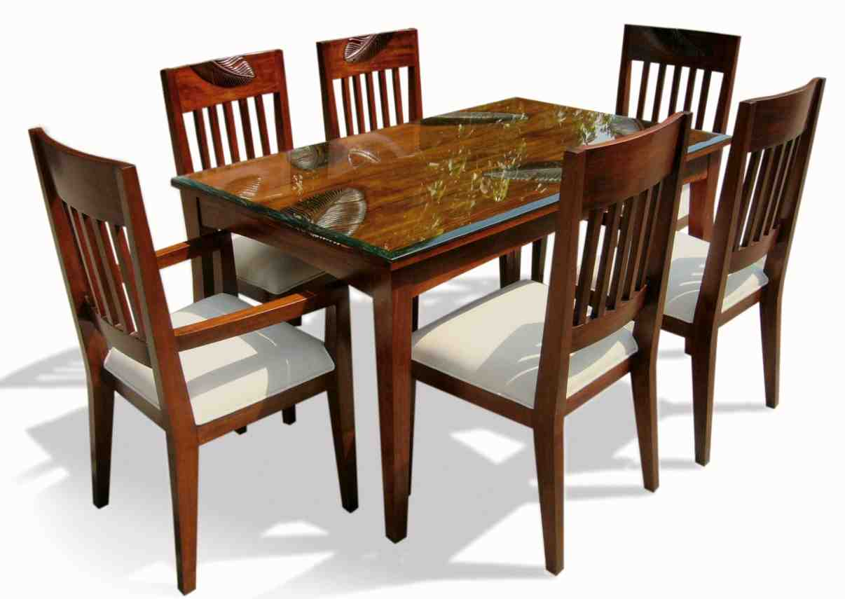 Six chair dining table set home furniture design for Dining table chairs