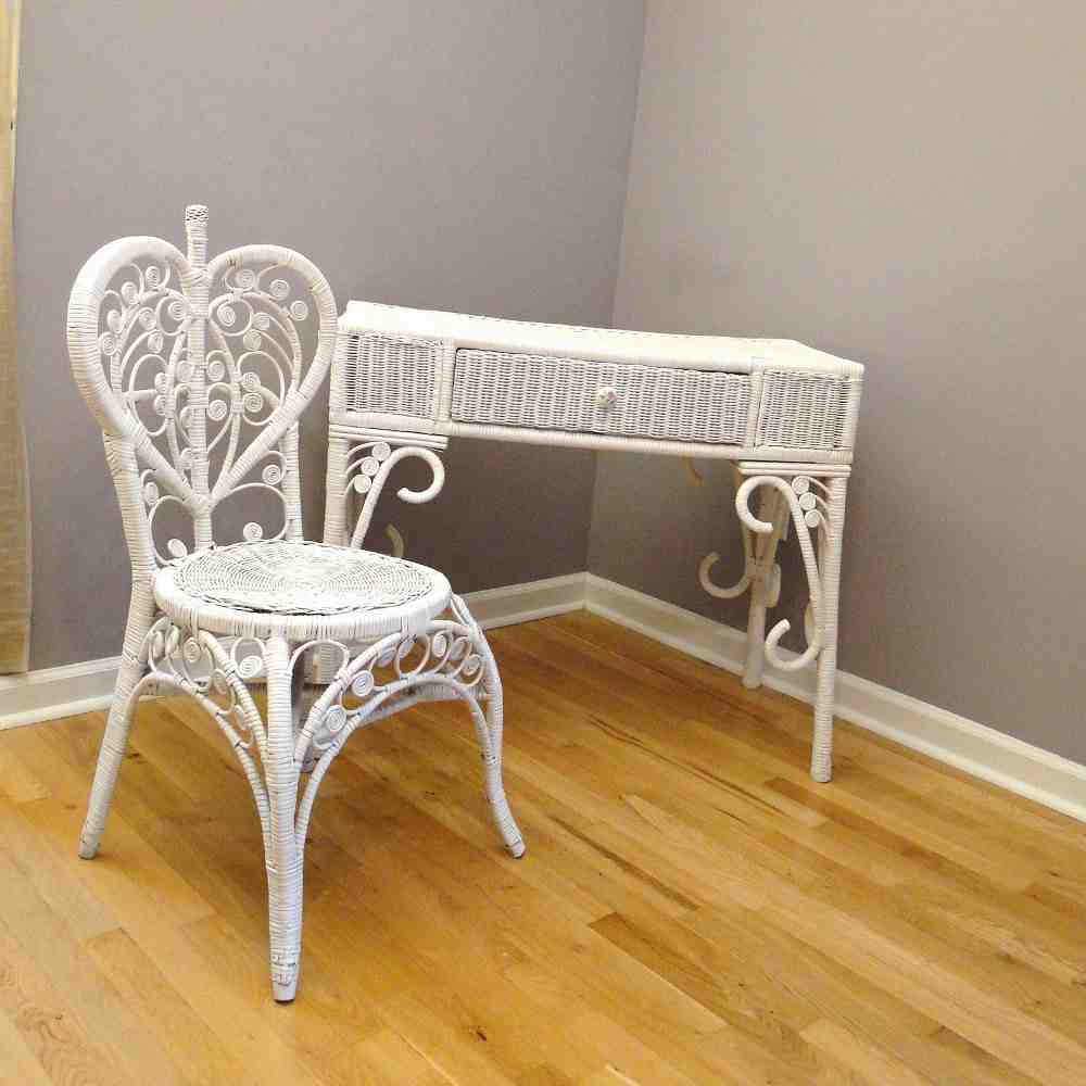 White Wicker Desk Chair Home Furniture Design