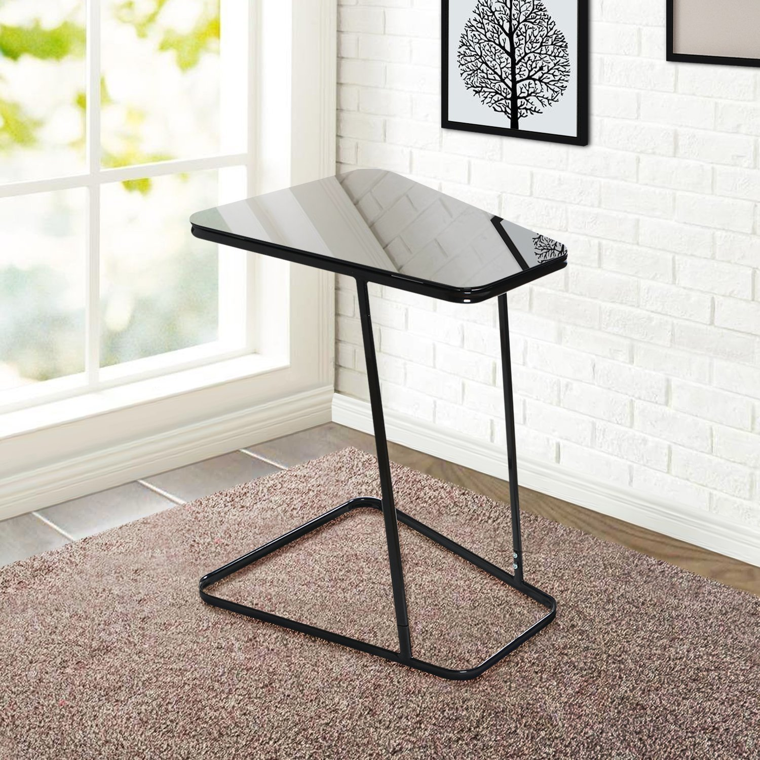 Black glass end table home furniture design for Sofa side table designs