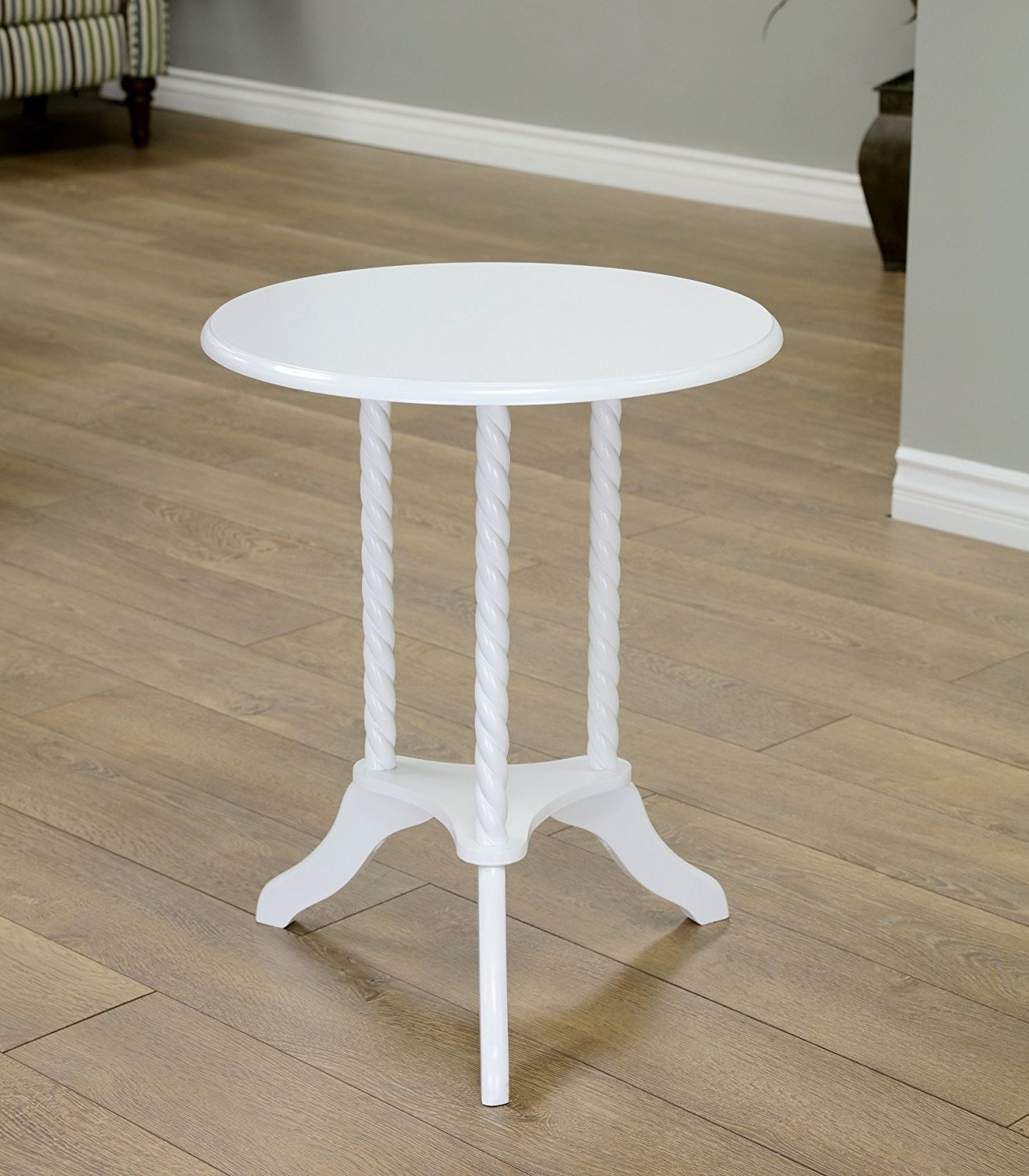 Small white end table home furniture design for Small bathroom accent tables
