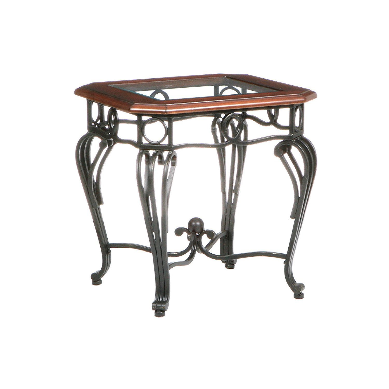 Wrought iron end tables with glass tops home furniture for Wrought iron and glass table