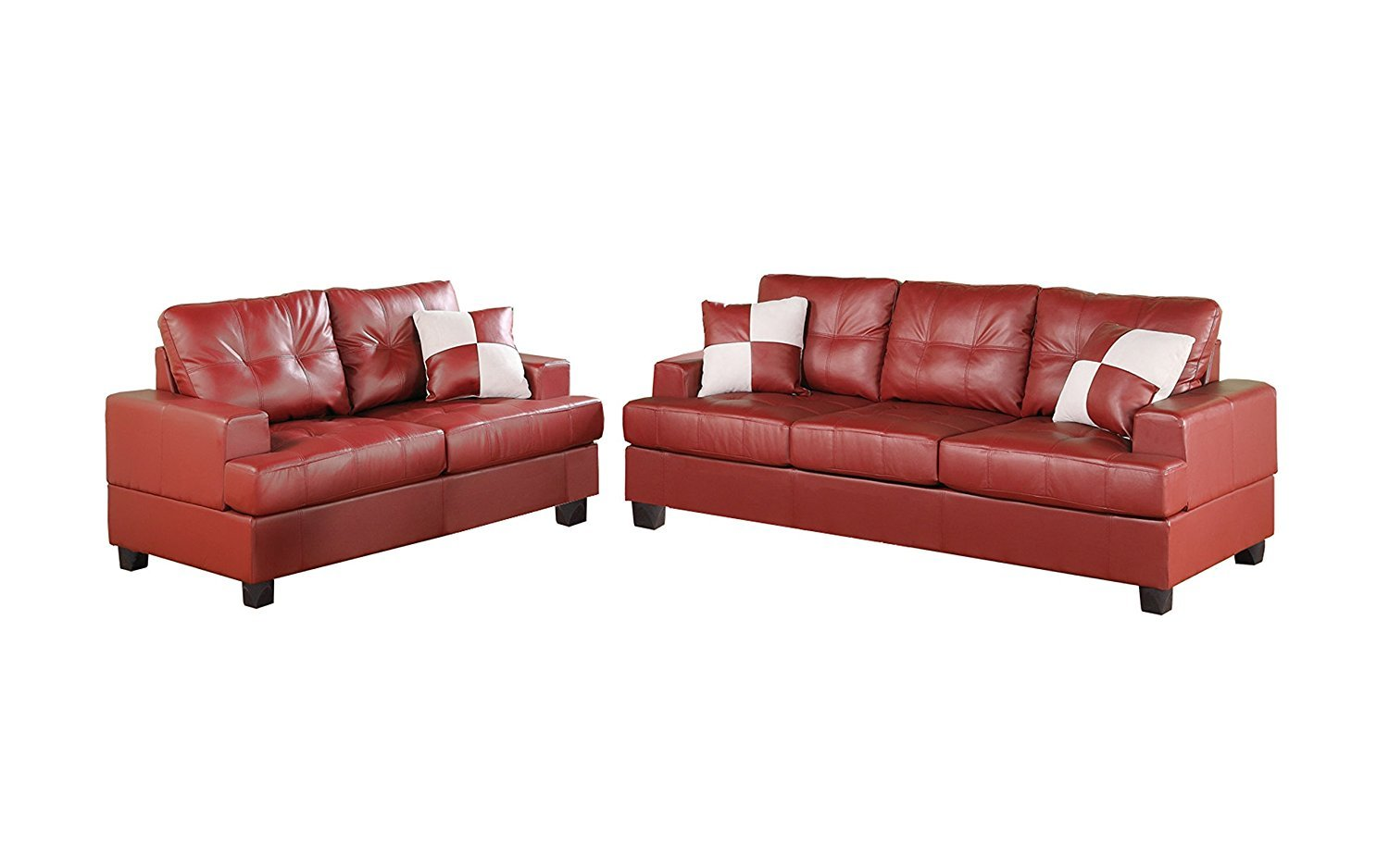 Red Leather Sectional Couch Home Furniture Design