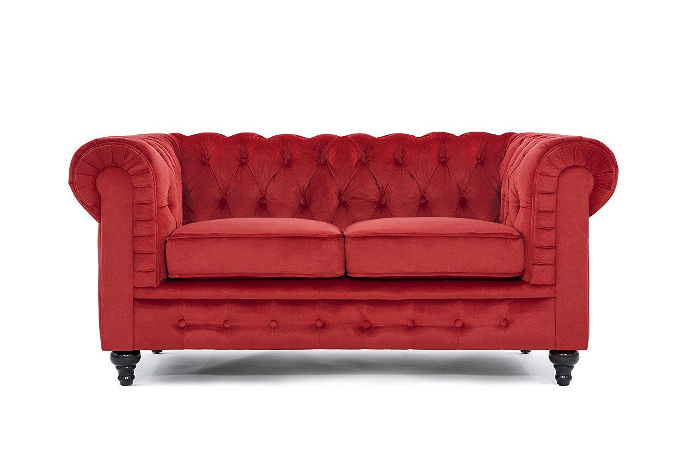 Classic Modern Scroll Arm Velvet Large Love Seat Sofa