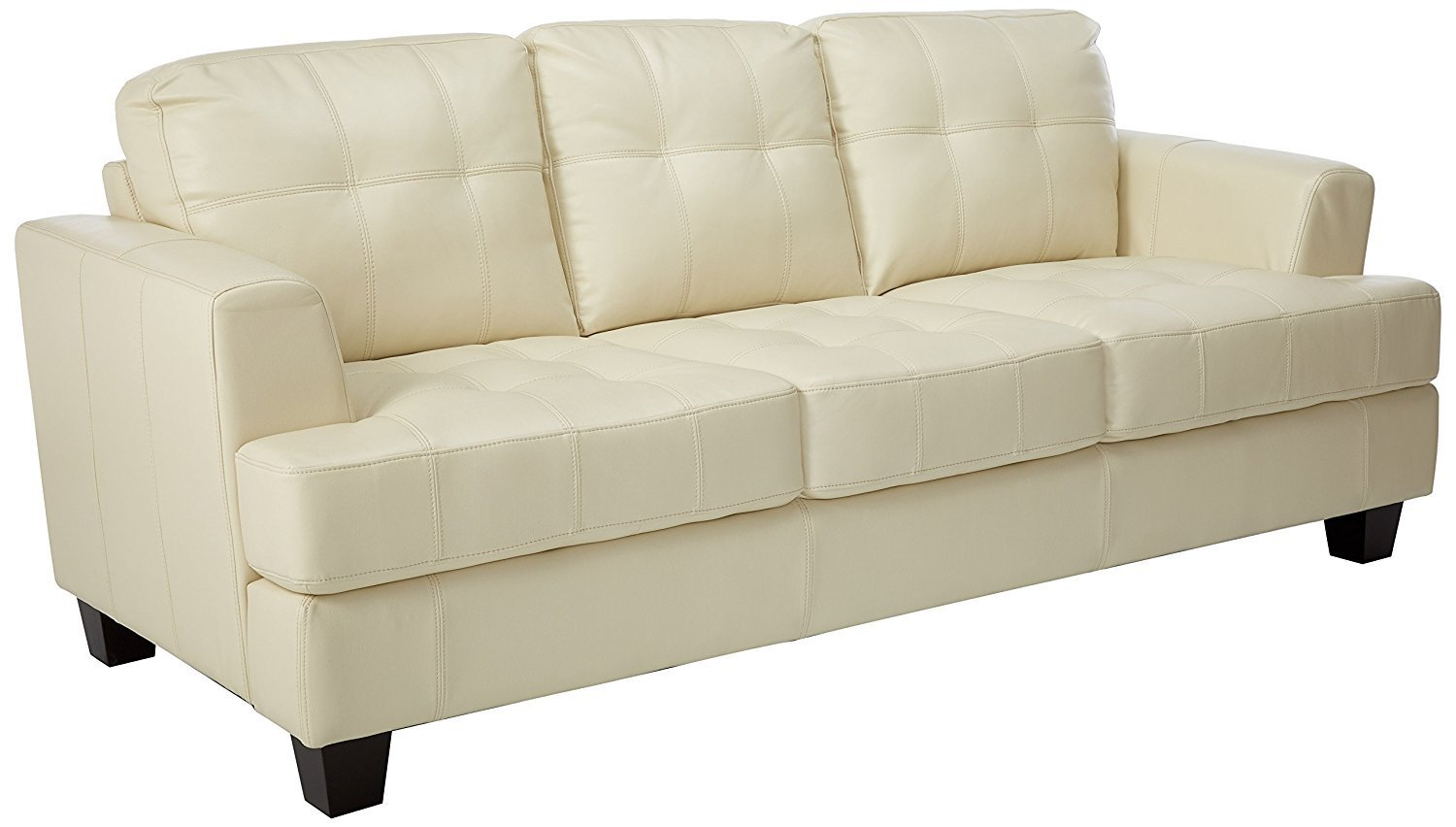 Coaster Samuel Collection Cream Leather Sofa Home