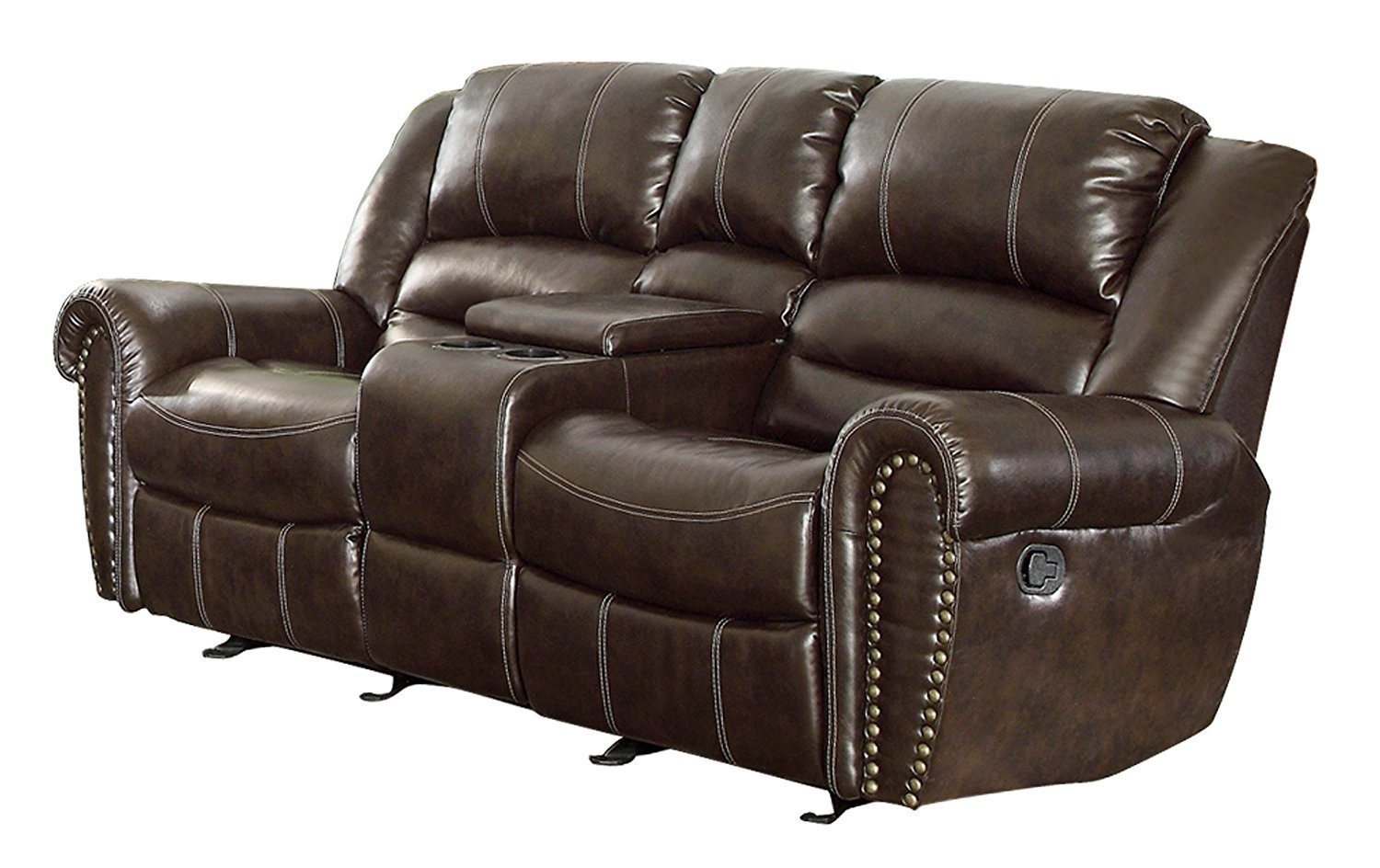 Homelegance 9668brw 2 Double Glider Reclining Loveseat
