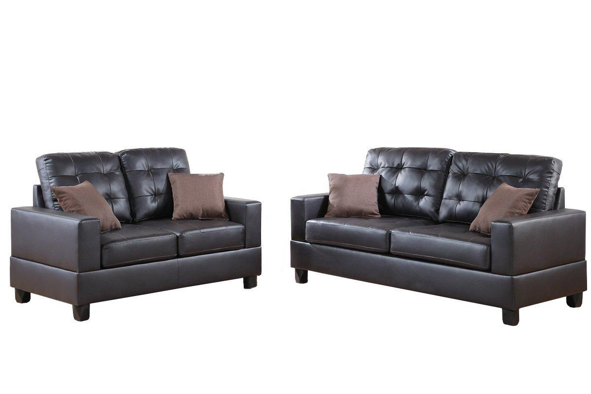 Poundex F7857 Bobkona Aria Faux Leather 2 Piece Sofa