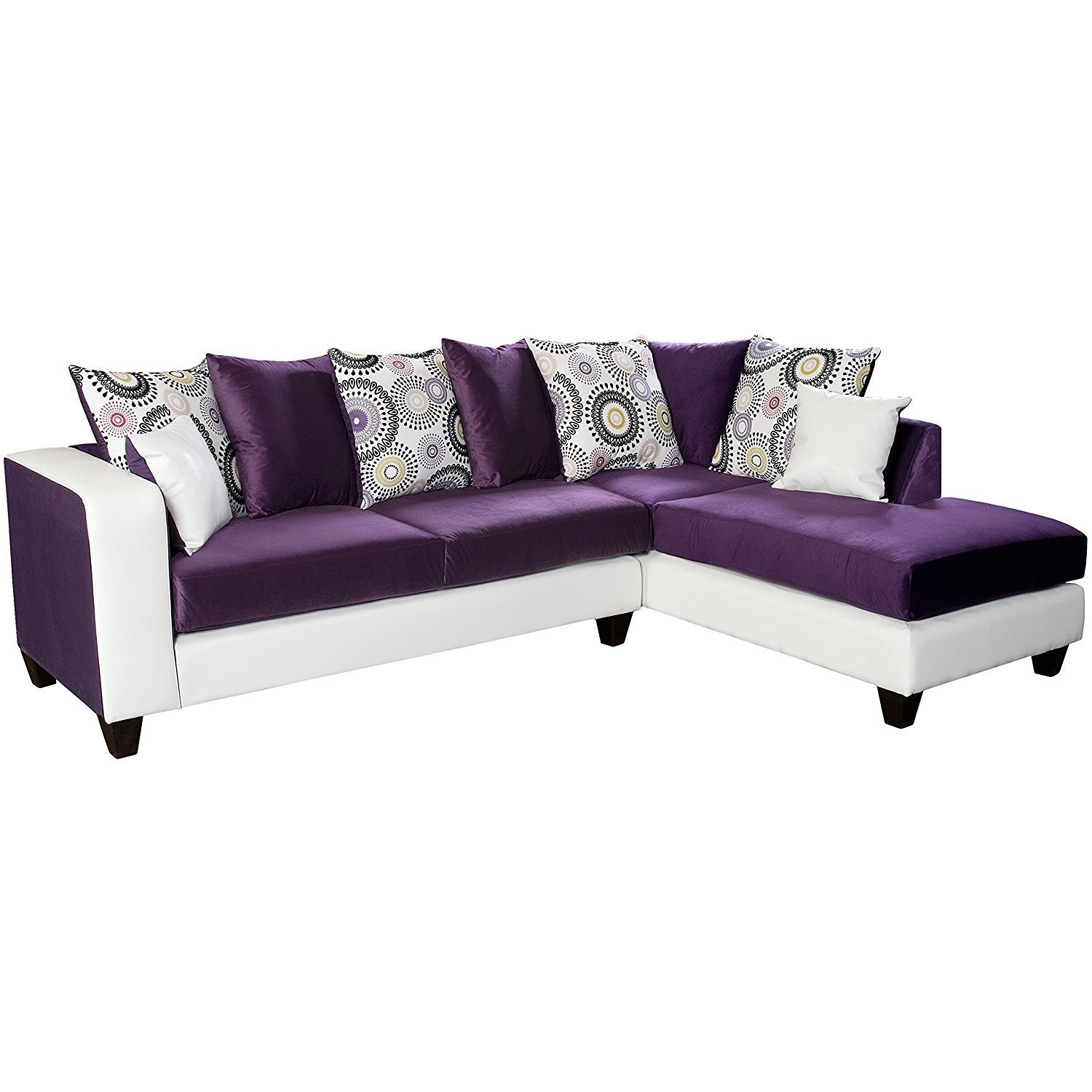 Riverstone implosion purple velvet sectional home for Purple sectional sofa chaise