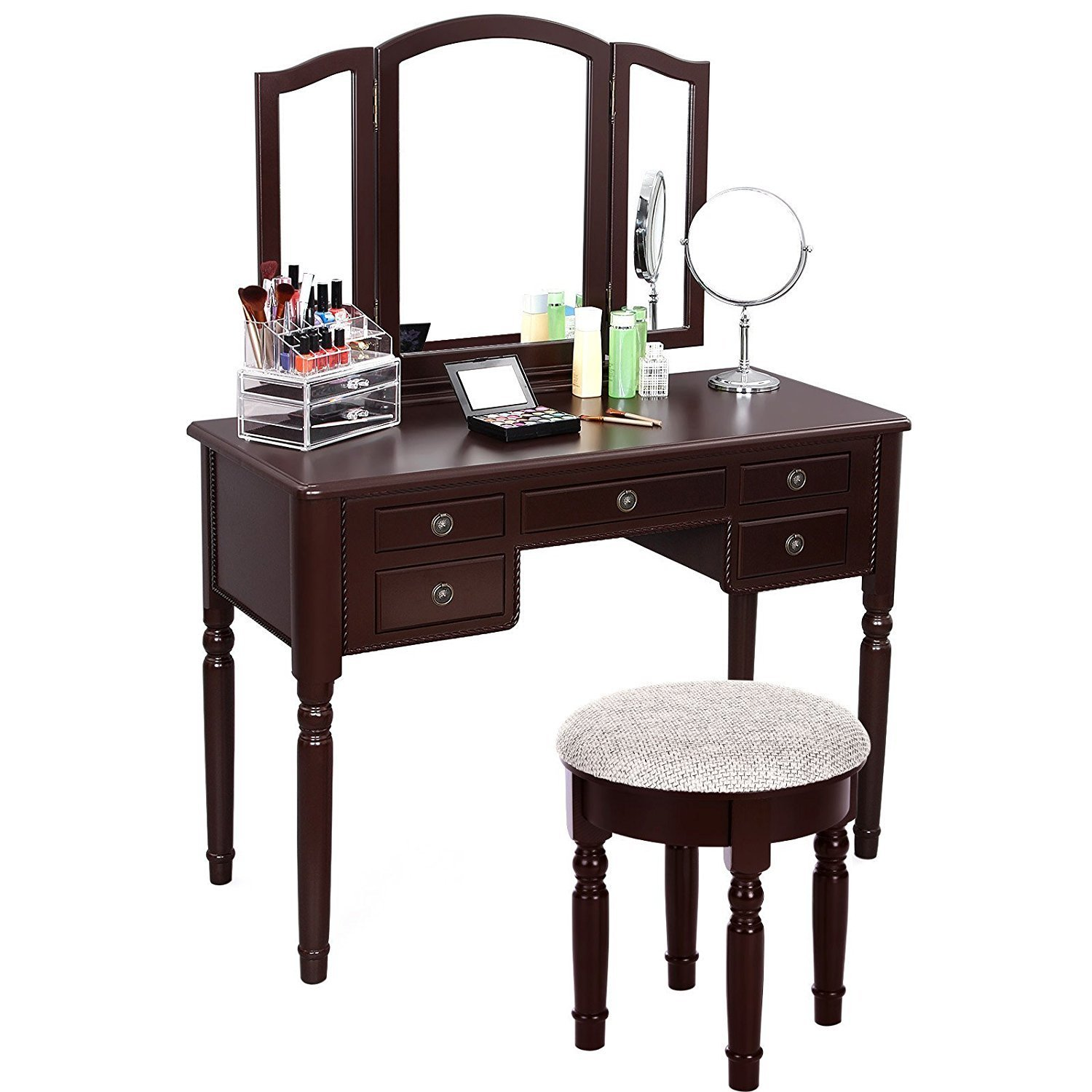 vintage vanity table with mirror and bench home furniture design. Black Bedroom Furniture Sets. Home Design Ideas