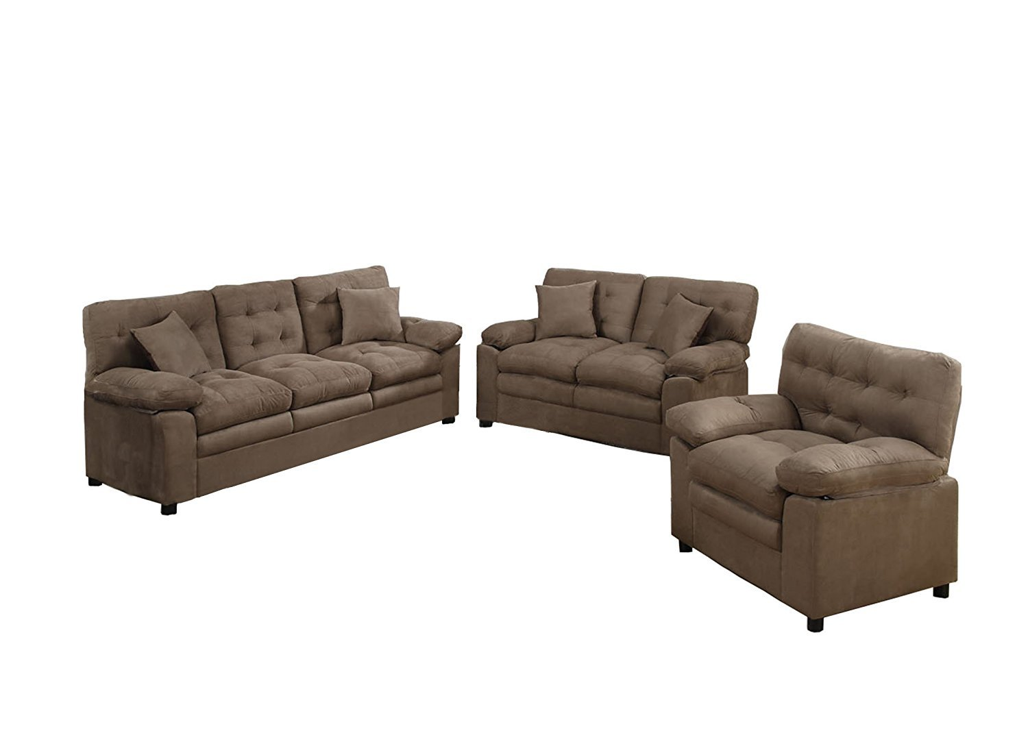 Poundex Bobkona Colona Mircosuede 3 Piece Sofa And Loveseat With Chair Set Home Furniture Design