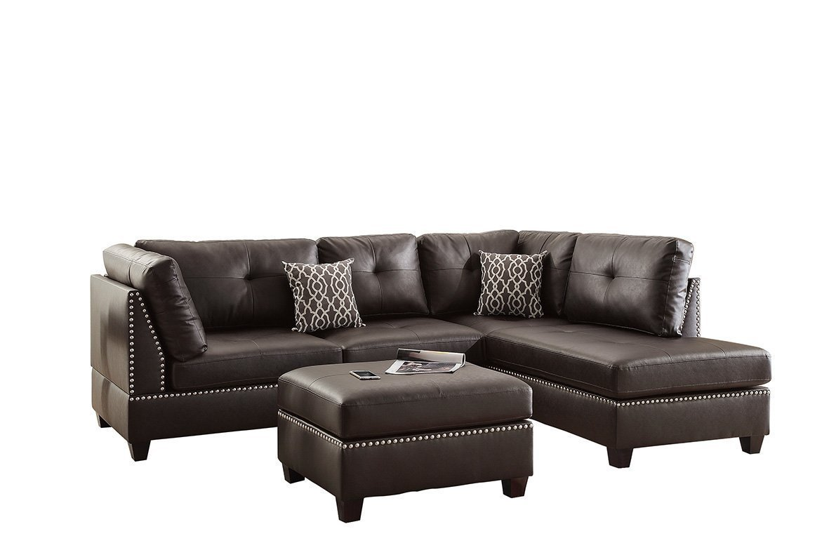 Poundex bobkona viola bonded leather left or right hand for Bonded leather chaise
