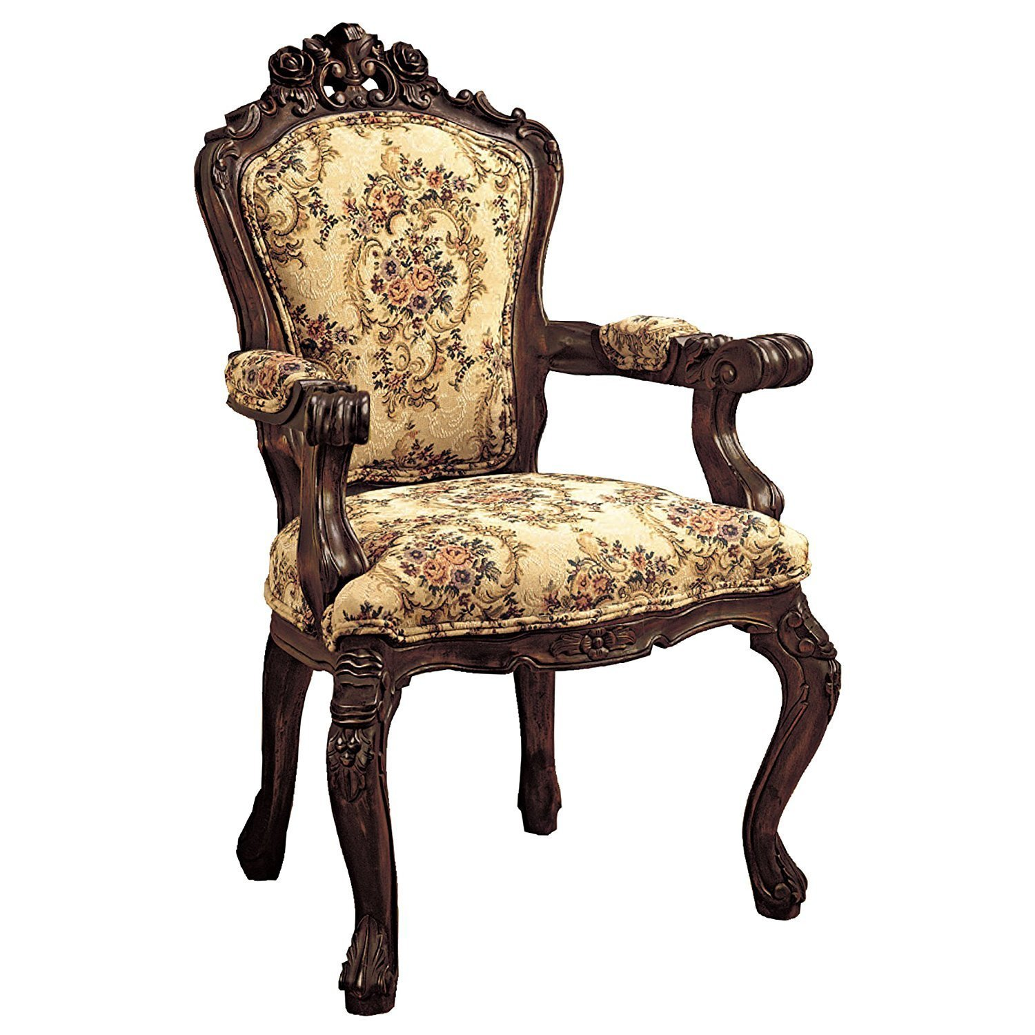 Design Toscano Carved Rocaille Fabric Arm Chair Home