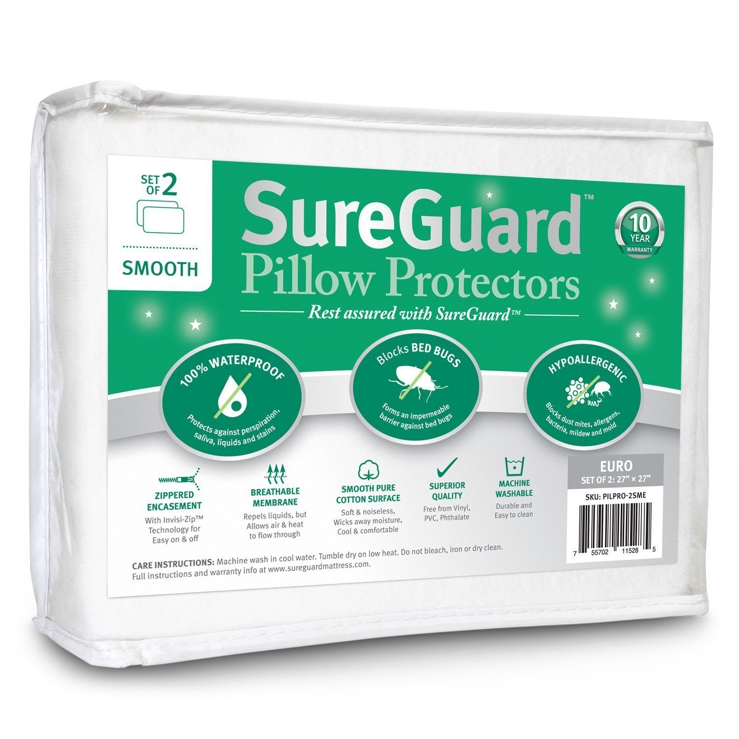 Set Of 2 Smooth Sureguard Pillow Protectors Home