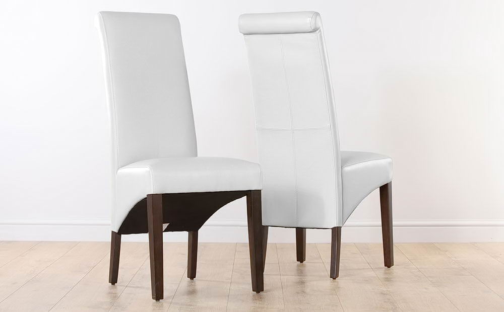 White Leather Dining Chairs Home Furniture Design