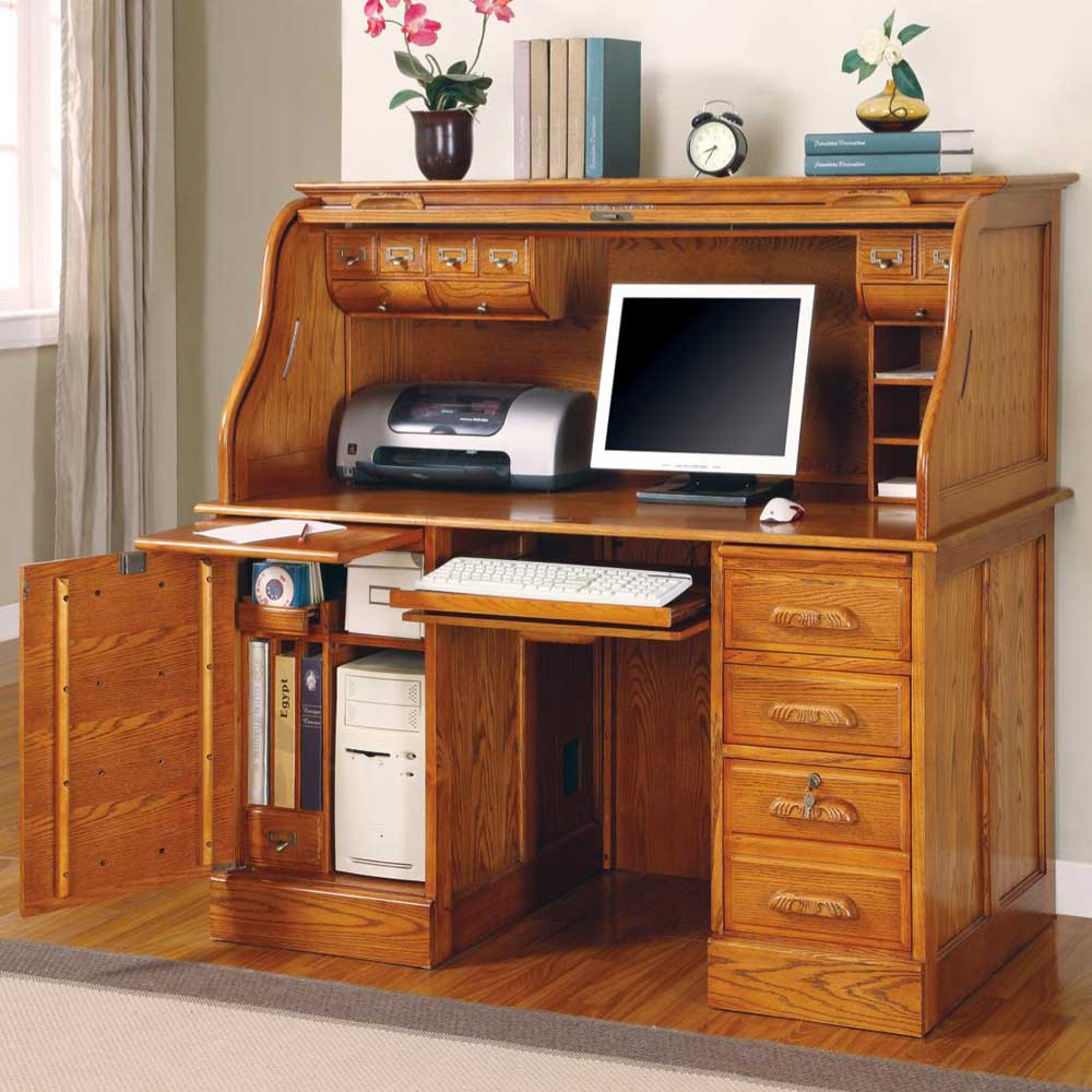 Oak Roll Top Computer Desk