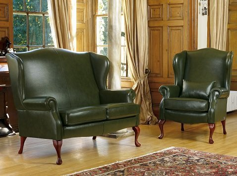 Dark Green Leather Sofa Home Furniture Design