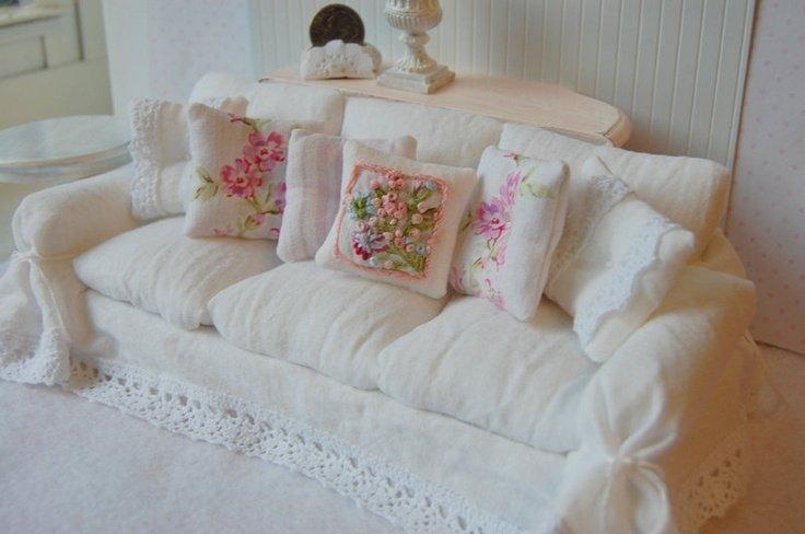 shabby chic sofa couch slipcover ed by VintageChicFurniture |Shabby Chic Sofas