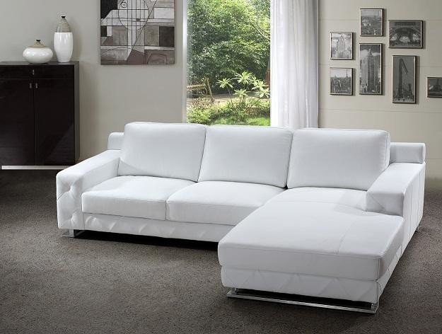 white leather sofa with chaise