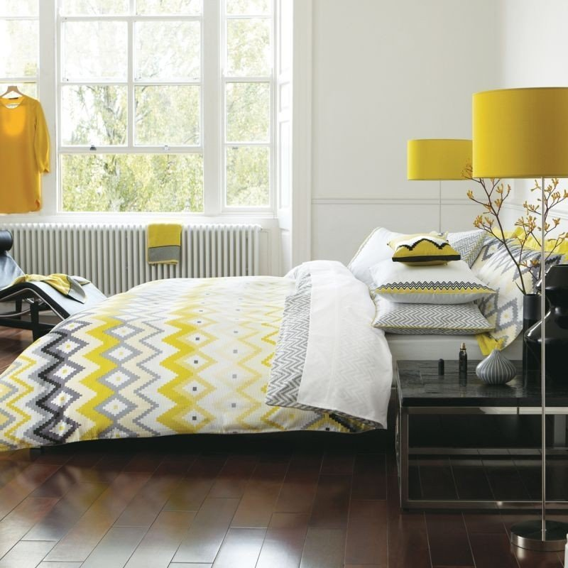 Grey And Yellow Bed Set Home Furniture Design