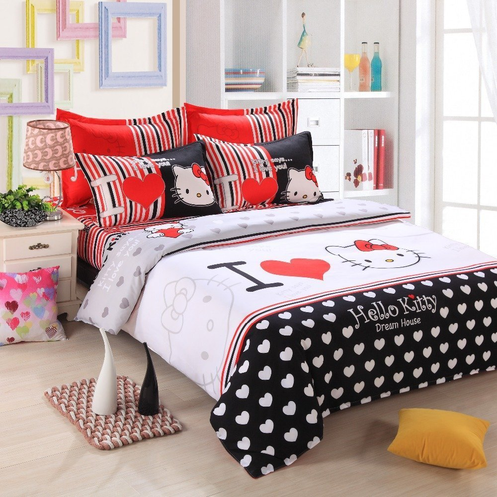 bed sets full hello kitty size bedding set home furniture design 29512