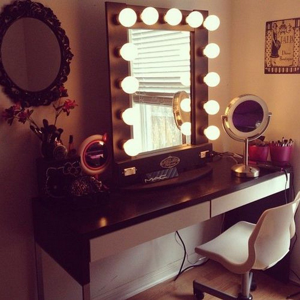 Home Desk Design Ideas: Vanity Desk With Mirror And Lights