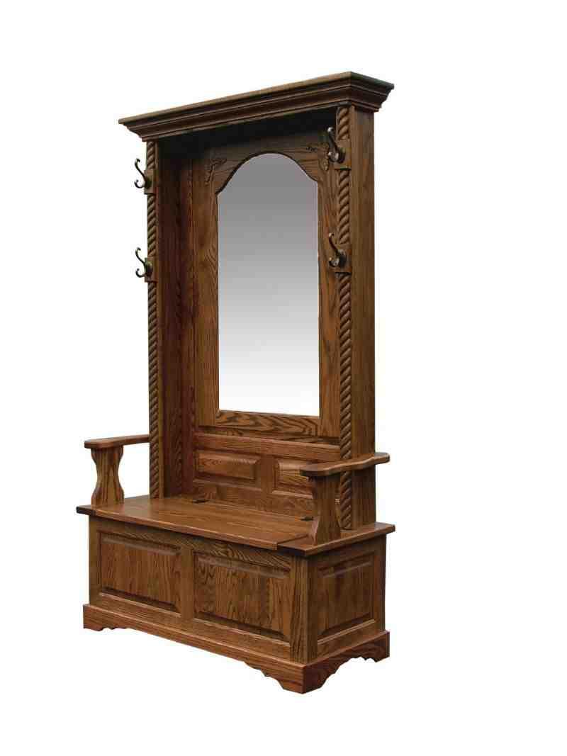 Antique Hall Tree Storage Bench Home Furniture Design