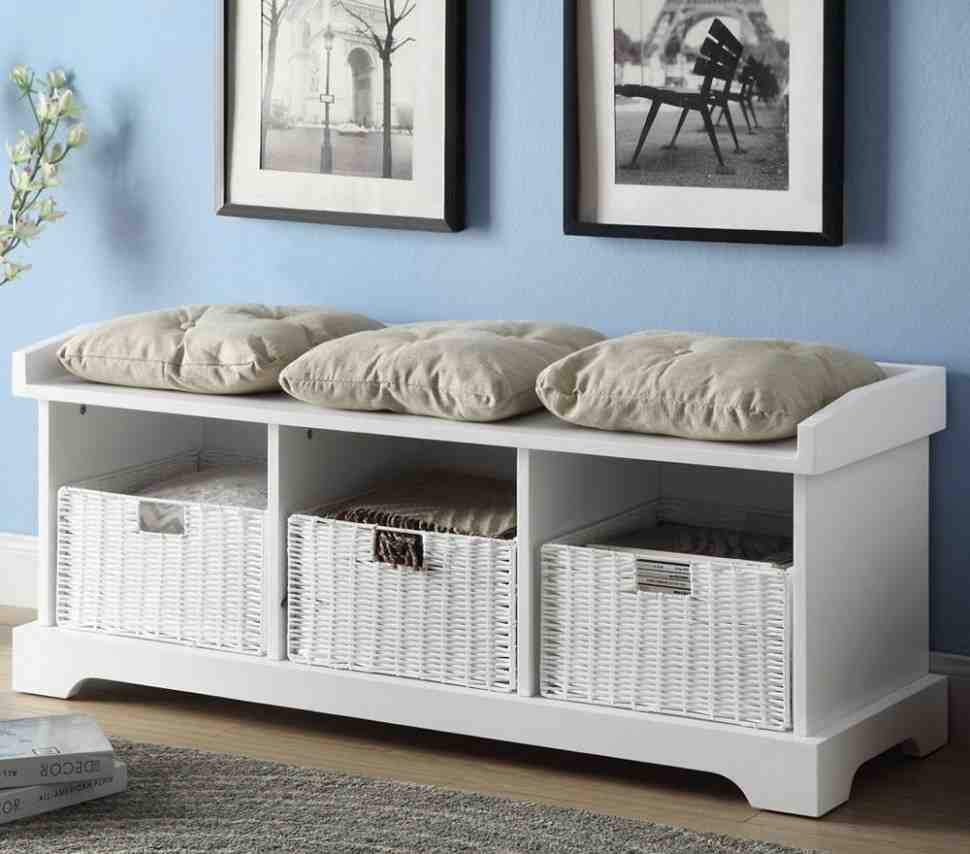 White Storage Bench With Cushion Home Furniture Design