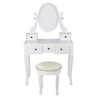 white vanity table set jewelry armoire makeup desk bench ...