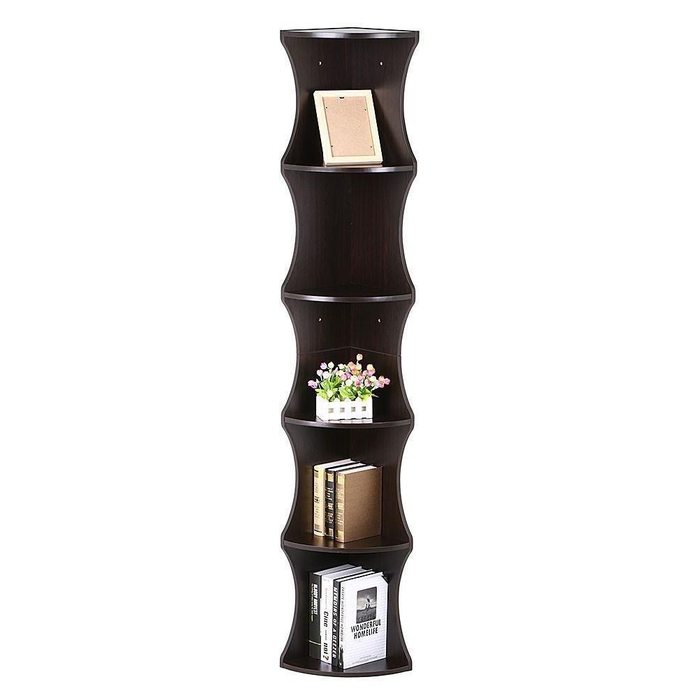 Go2buy 5 Tier Wood Round Wall Corner Shelf Slim Bookshelf
